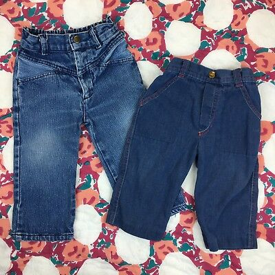 Lot of 2 Vintage Toddler Baby Boys Jeans Jet Set Carters Blue Acid 90s 18 Months