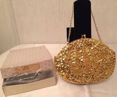 Vintage Beaded Sequins Clutch Purse Gold Evening Bag Prom  HONG KONG Hand Made