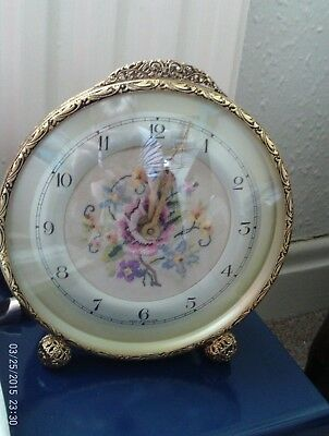 Antique Clock gilt with Embroidered Face working excellent condition