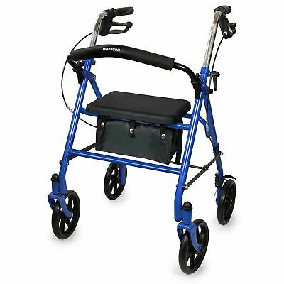 McKesson Rollator Steel 300 lbs. 31 to 37 Inch Handle Height 146-10257BL-1 Blue