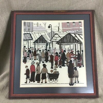 L S Lowry Embroidery Picture Wool work Tapestry Textile Wall Hanging