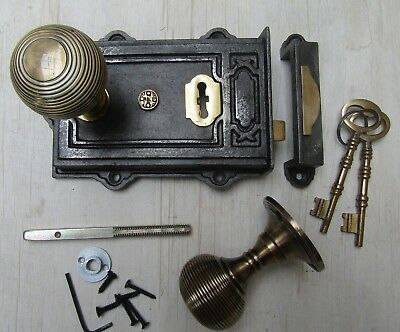 Rustic Old English Vintage Victorian Bedroom Rim Door Knob Handle Latch Set