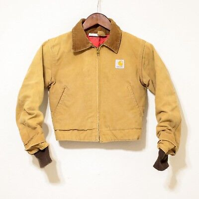 Vintage CARHARTT 100 Year anniversary Canvas Coat Jacket corduroy quilted union