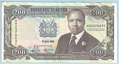 Central Bank Of Kenya - $200 Shillings - 01.07.1992 - WPM# 29d - Large Date Note