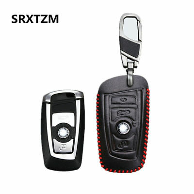 Cover Remote Fob Red Stiching Genuine Leather Car Key Case Holder For BMW Car