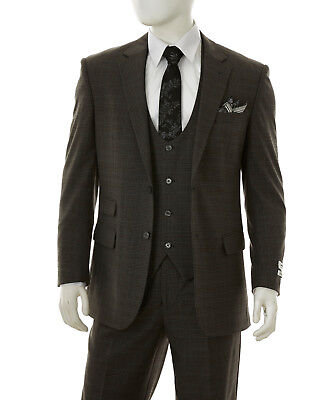 Mens Lorenzo Bruno Round Collar Vest Suit Gray Charcoal Tartan Plaid Classic Fit