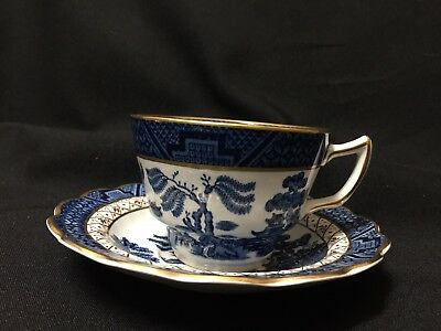 Vintage! Booths A8025 Real Old Willow Blue White with Gold Trim Cup and Saucer