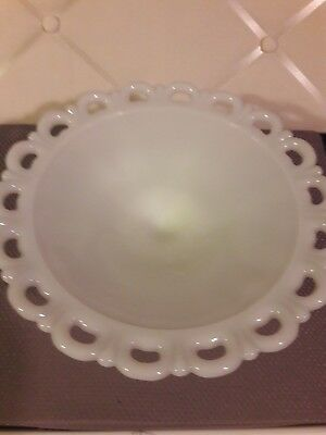 """Vintage Milk Glass Lace Cake Plate -Pastry or Fruit Bowl Footed 11"""""""