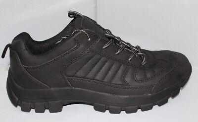 Men's Hiking Trail Sneaker Black Leather . Sizes(6.5 - 13)