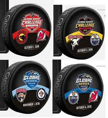 2018 Global Series Dueling Team Puck Set(4) Sweden Finland Germany Switzerland
