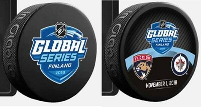 2018 Nhl Global Series Dueling & Logo Team Puck Set(2) Finland Panthers Vs. Jets