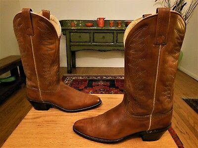 Brown Cowboy Boots Vintage 1980s Dark Brown Acme Leather Stacked Heel Women/'s size 6 12