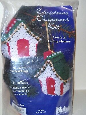 Sulyn Christmas Ornament Kit 221-A Winter Cottage Makes 2 New Old Stock