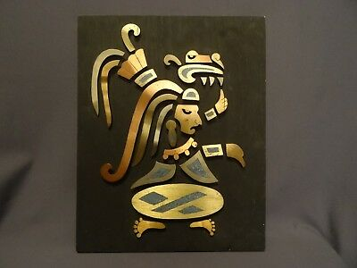 Vintage Rare Antique Indian American Mexican Aztec Gilded Face Wood Panel MCM