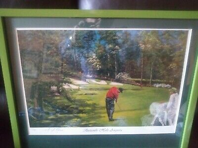 "Tiger Woods ""13th Hole Augusta"" Limited Edition Low Number Lithograph"