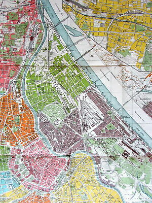 Vienna Austria c.1930-40's large vintage Europe City Plan color lithographed