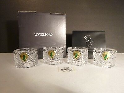 *NEW* Waterford Crystal SEAHORSE (2002-) Set of 4 Napkin Rings NEW IN THE BOX