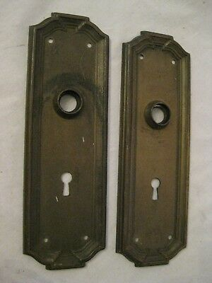 antique door plates pair skeleton key type old metal ornate plate hardware