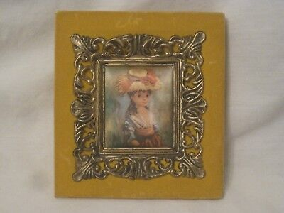 small vintage ornate plastic frame silk print decor home wall decor girl w/ hat
