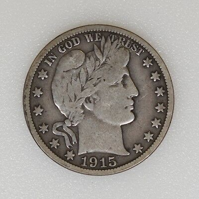 1915-S Fine Condition Barber Half Dollar Last Year Nice Color - I-13859 G