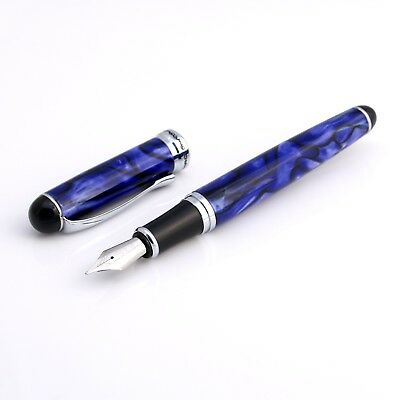 Jinhao x750 Blue Marble Swirl Design Fountain Pen Medium Nib, Ink Converter NEW