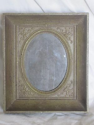 vintage ornate hard plastic deep frame rectangular scroll wall hang stand deco