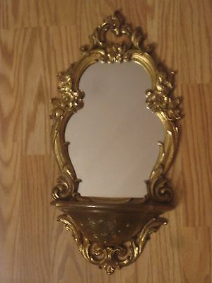 vintage ornate Syroco wall mirror shelf wall decor 2327 Hollywood Regency Gold