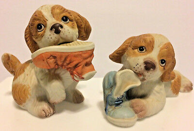 Pair Puppy Dogs Chewing Shoes Porcelain Figurines Vintage Homco Figurines 2 Pc