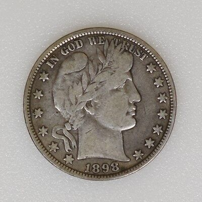 1898-P F/VF Condition Barber Silver Half Dollar Nice Strike & Color - I-13865 G