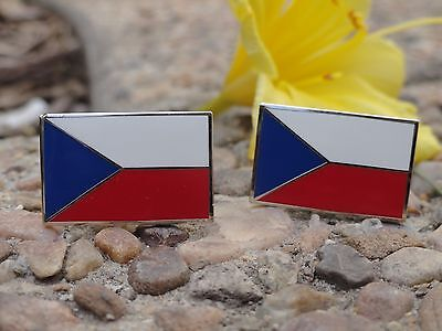 Czech Republic Flag Cufflinks--Western Eastern Europe European Prague