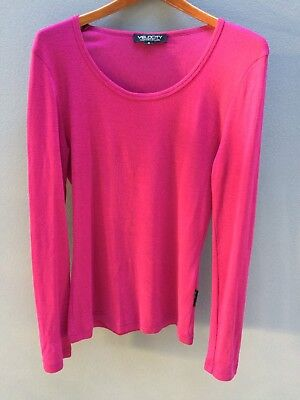 CLEARANCE! VELOCITY (NZ) 100% Merino Wool Top Size 16 Pink Long Sleeved Womens