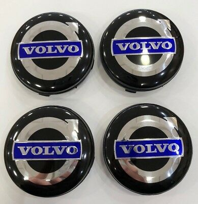 4x 64mm BLACK & BLUE VOLVO ALLOY WHEEL CENTRE HUB CAPS C30 C70 S40 V50 S60 V60
