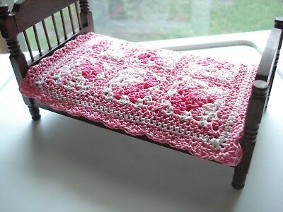 Miniature Crochet Dollhouse Coverlet Blanket 1:12 Shades of Pink Granny Squares