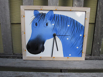 Blue Horse w Polka Dots Art Tile Clock Handmade in Estonia Equestrian Ceramic