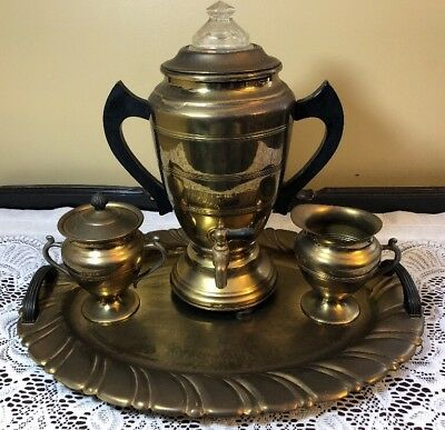 Antique Brass Coffee Pot Urn & Creamer & Sugar & Platter