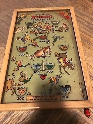 "Vintage Pull PinBall Game ""POOSH-M-UPs RODEO BAGATELLE"" Baseball + — WORKS FINE"