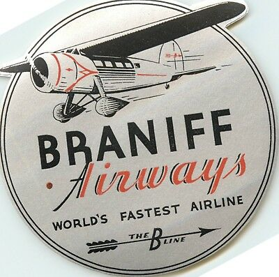 World's Fastest Airline ~BRANIFF AIRWAYS~ Historic Old Luggage Label, 1931