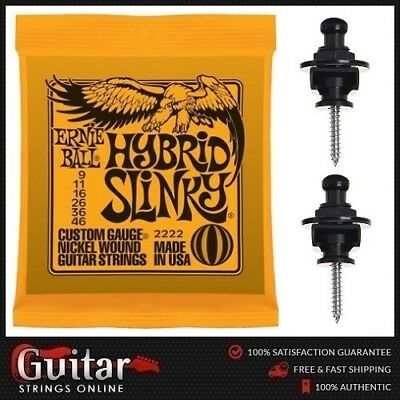 Ernie Ball 2222 Slinky Electric Guitar Strings 9-46 + 2 Black Strap Locks New