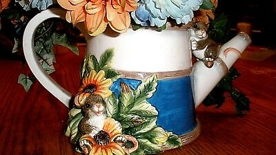 Charming Tails SPRING GARDEN WATERING CAN, Collectible mice