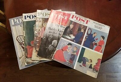 Lot of 5 Antique Saturday Evening Post Magazines