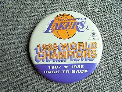 Vintage 1988 Los Angeles Lakers NBA World Champions Back to Back Pinback Button