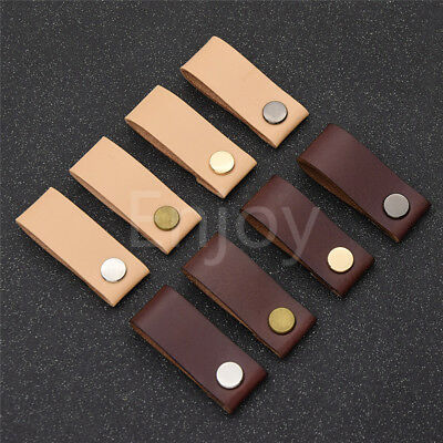 Vegetable Tanned Leather Knob Handle Drawer Cupboard Door Cabinet Pull Handware