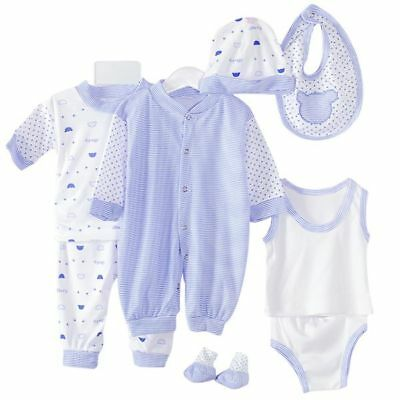 5Pcs Newborn Infant Baby Girl Boy Shirt +Pants +Hat+Bid Set Outfits Clothes 0-3M
