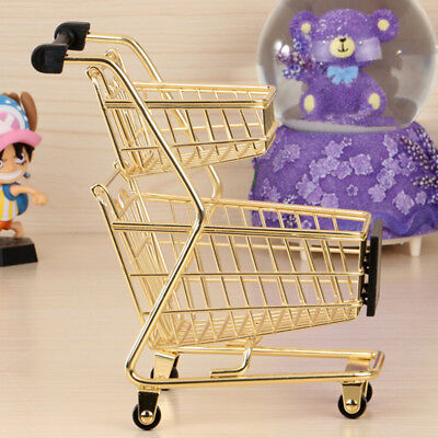 *Mini Metal+Plastic Double-tier Shopping Trolley Cart For Kids Pretend Play Toy*