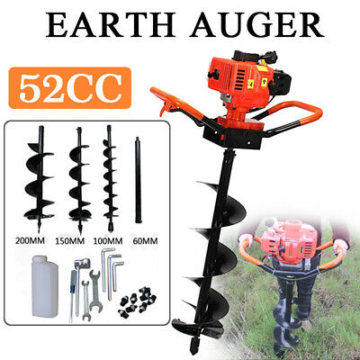 """52cc 2HP Gas Post Earth Digger Auger Hole Borer Ground Drill w/ 4"""" 6"""" 10"""" Bit"""