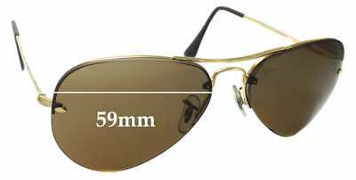 SFx Replacement Sunglass Lenses fits Ray Ban RB3214 Rimless Aviator 59mm wide