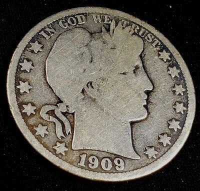 1909 S 50 Cent Barber 90% Silver Half Dollar US Coins**