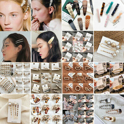 Women Lady Chic Pearl Hair Clips Claw Barrette Crab Snap Hairpin Hair clips Gift