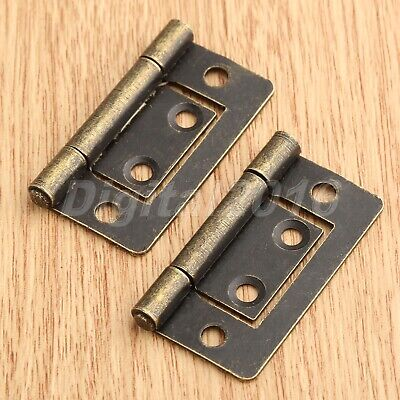2pcs Furniture Door Flush Hinge Retro Jewelry Box Chest Cabinet Hinges 38mm*20mm