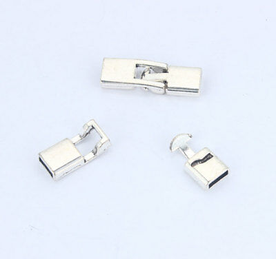 10 sets Silver Snap Clasp for 6*2mm Flat Leather Bracelet Connector Findings